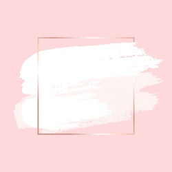 Hand drawn white brush strokes and gold square frame on rose background. Abstract vector background.