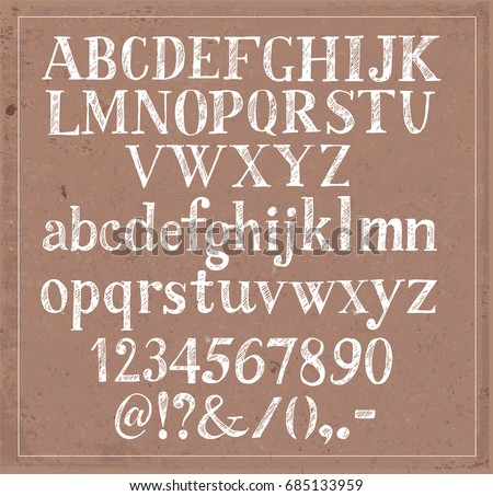 Hand drawn white sketch font on brown parcel paper background
