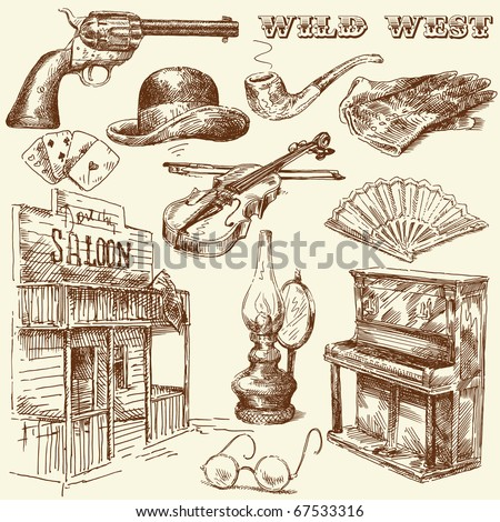 hand drawn wild west collection