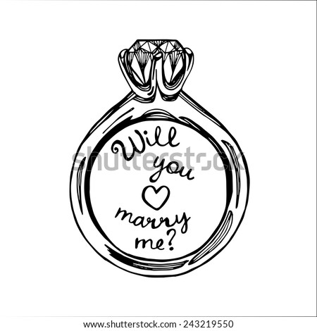 hand drawn will you marry me wedding ring white background
