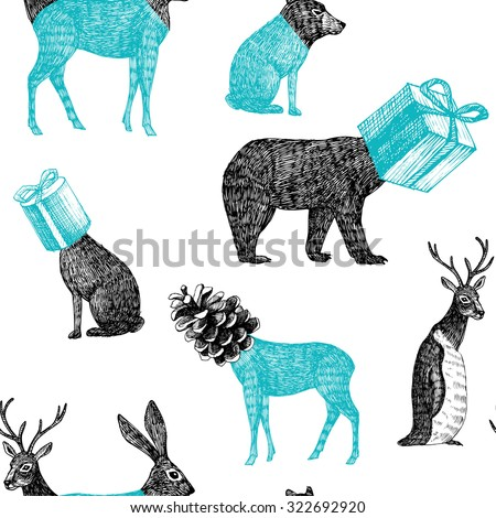 hand drawn winter animals