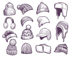 Hand drawn winter hats. Set of different knitted hat with pom pom and ear flap, fisherman beanie, sport cap headwear sketch vector warm christmas fur headphones and caps set