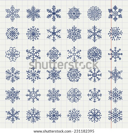 hand drawn winter snow flakes