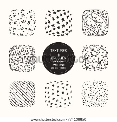 Hand drawn winter textures and brushes. Artistic collection of design elements: snowflakes, snow dots, stars, sparkles, wavy lines, frost abstract backgrounds, patterns made with ink. Isolated vector.