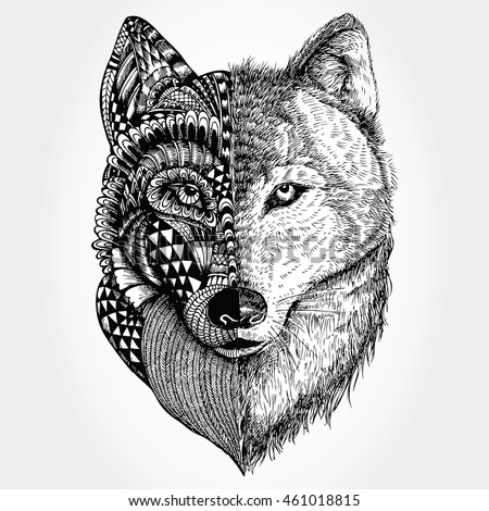 hand drawn wolf head zentangle