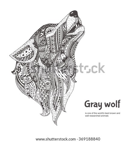 hand drawn wolf side view with