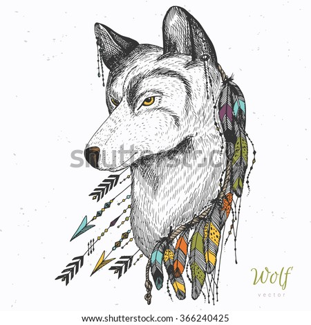 hand drawn wolf with feather
