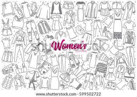 hand drawn women's clothing