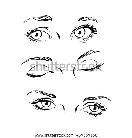 Vector Images Illustrations And Cliparts Hand Drawn Women S Eyes Black And White Vintage Vector Illustration Fashion Design Hqvectors Com