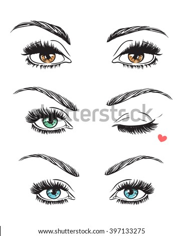 hand drawn women's eyes vintage