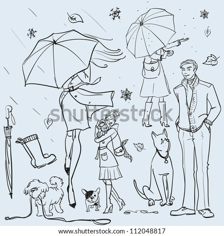 hand drawn women with umbrella