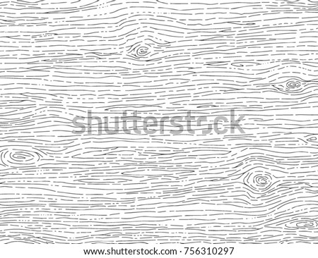 Hand Drawn Wood Pattern, Wood Texture Background Vector