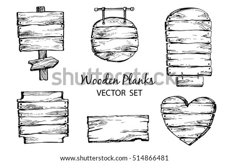 Hand drawn wood planks clipart. Vector set engraved retro style. Wood pointer, signboard, wooden heart. Rustic illustration.Perfect for blogs,lettering,pattern,invitation.