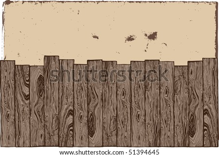 Hand-drawn wooden fence with old grunge paper