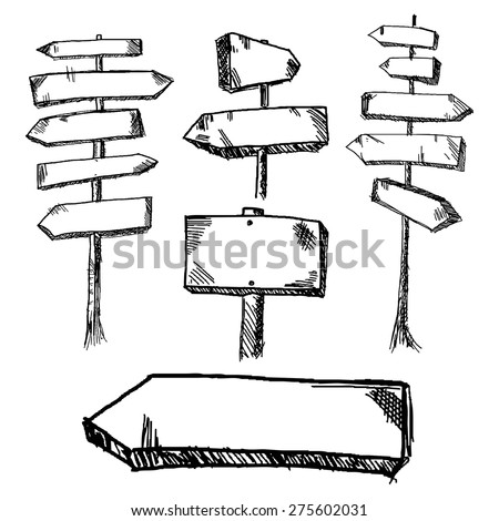 Hand drawn wooden road signs pointing in different and opposite directions. Vector illustration. #275602031