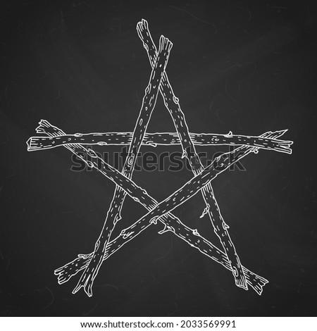 Hand drawn wooden sticks pentagram, magic occult wicca star symbol. Vector chalk illustration in white over black chalkboard.