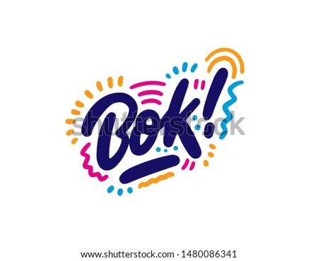 hand drawn words  bok ink