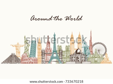 Hand drawn world famous monuments. Travel and tourism background.Vector illustration
