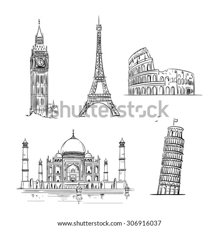 hand drawn world landmark set