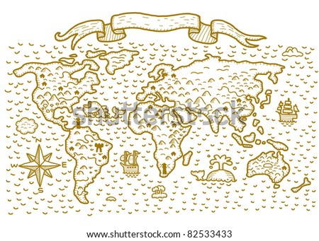 hand drawn world map