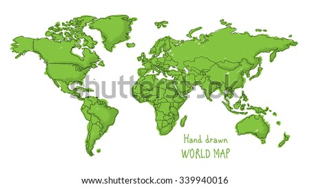Sketch world map vectors download free vector art stock graphics hand drawn world map doodled with a childish cartoon style contouring the countries gumiabroncs Images