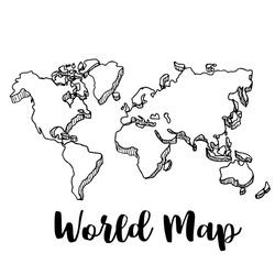 Hand drawn World map sketch,vector illustration