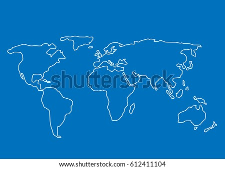 Hand drawn World map. White contour on blue background