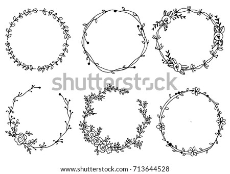 Hand Drawn Wreaths Vector Illustration Design Elements For Invitations Greeting Cards 713644528