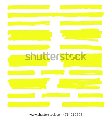 Hand drawn yellow highlight marker lines. Highlighter strokes isolated on white background vector set. Highlighter drawing design illustration