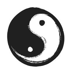 hand drawn ying yang symbol of harmony and balance,  vector design element
