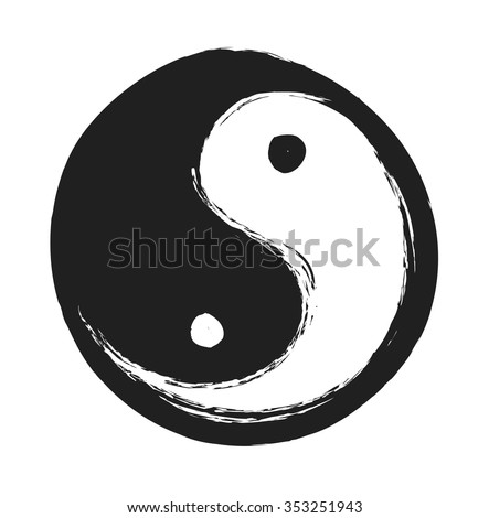 hand drawn ying yang symbol of