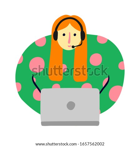 Hand drawn young female with headset and laptop. Redhead woman working in office. Smiling operator. Call center. Customer support service. Color design.  Vector stock illustration.