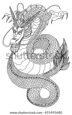 hand drawn zentangle and doodle style dragon stock vector illustration 455495680 : shutterstock
