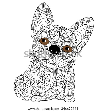 hand drawn zentangle bulldog