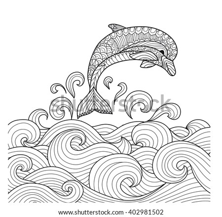 Hand drawn zentangle dolphin with scrolling sea wave for for Adult coloring pages dolphin