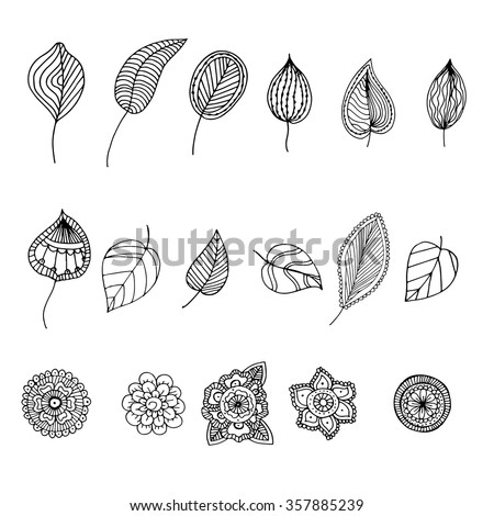 Hand drawn zentangle doodle illustration for adult coloring books in vector. Unique lacy floral doodles for your design.