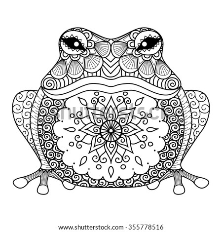 hand drawn zentangle frog for