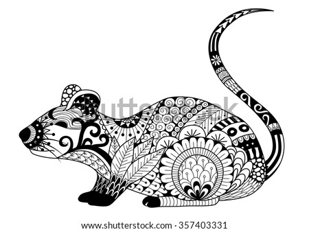 hand drawn zentangle mouse for