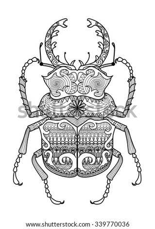 Artistic Green Celtic Cross Vector Illustration Hand Drawn Zentangle Odontolabis Cuvera Bug For Coloring Pagelogo T Shirt Design Effect