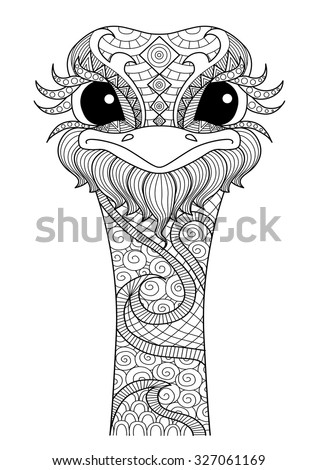 hand drawn zentangle ostrich