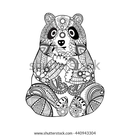 0761ba63c4806 Hand drawn zentangle panda for coloring book for adult,tattoo, shirt  design,logo