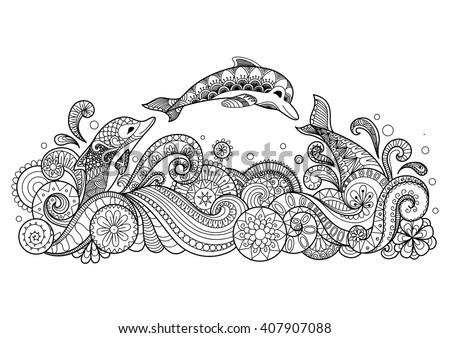 hand drawn zentangle three