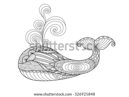 hand drawn zentangle whale for