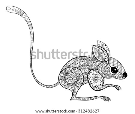 Hand Drawn Zentangled Mouse Totem For Adult Anti Stress Coloring Page With High Details Isolated On Line Vector Doodle
