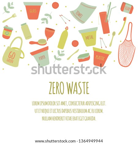 Hand Drawn Zero Waste Element Icon Set Background. Eco Green. Less Plastic. Eco Friendly. Eco Green. Eco Life. Earth Day. Infographic. Vector - Illustration.