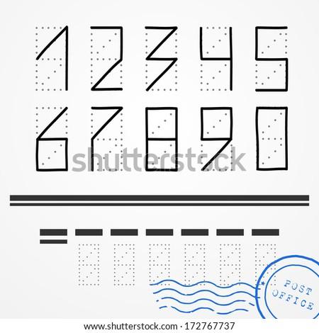 hand drawn zip code numbers
