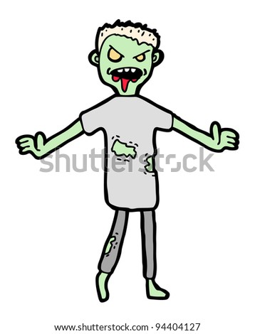 Hand drawn zombie, cartoon illustration