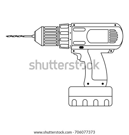 Hand drill icon, outline cordless, isolated on white background