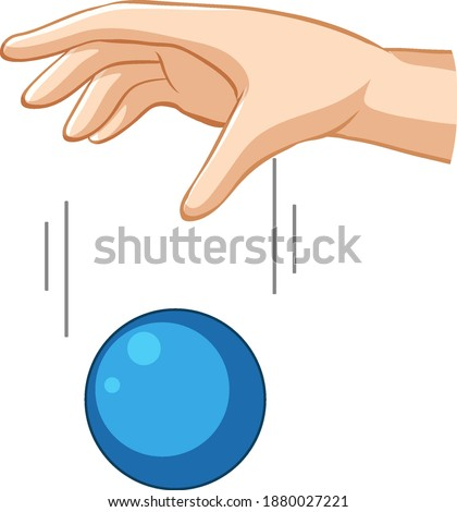 hand dropping blue ball for