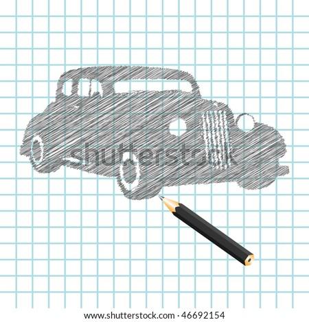 Hand-drown car sketch, vector illustration